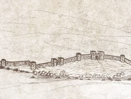 Perspective representation of Kastoria's fortification wall (Diateichisma)